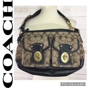 Coach bag, brown with front pockets